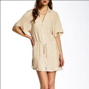 NWT Halston Heritage Beige Chiffon Shirt Dress